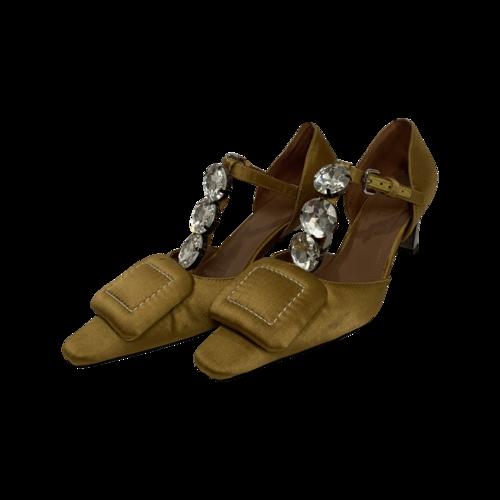 Marni Yellow Satin Crystal-Embellished Kitten Heels