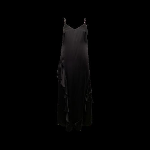 "Reformation Black ""Angelica"" Ruffle Silk Maxi Dress"