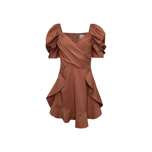 """C/MEO COLLECTIVE Polka Dot """"Lift Me"""" Dress in Terracotta"""