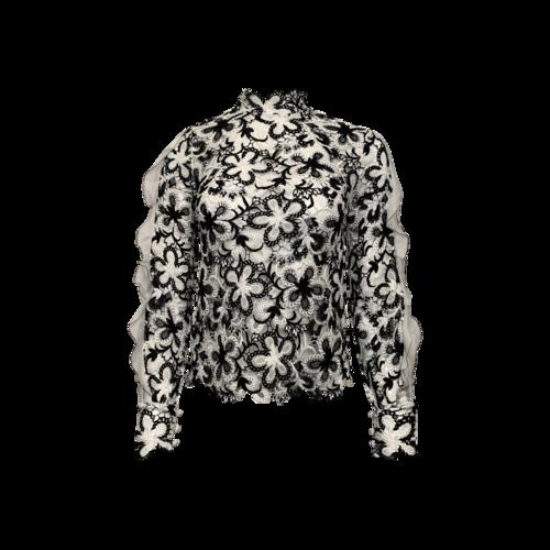 Self-Portrait Black and White Sheer Crochet Lace Flower Blouse