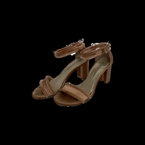 Stuart Weitzman Frayed Satin Ankle Strap Sandals