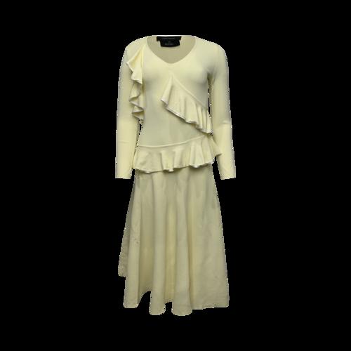 Cédric Charlier Yellow Midi Ruffle Dress