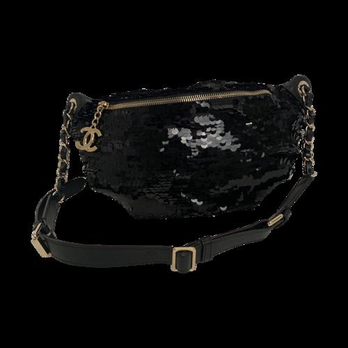 CHANEL Black Sequin Belt Bag
