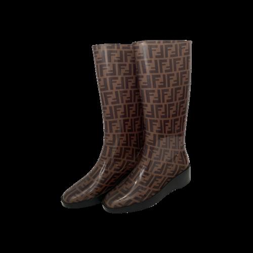 Fendi Brown Zucca Rain Boots
