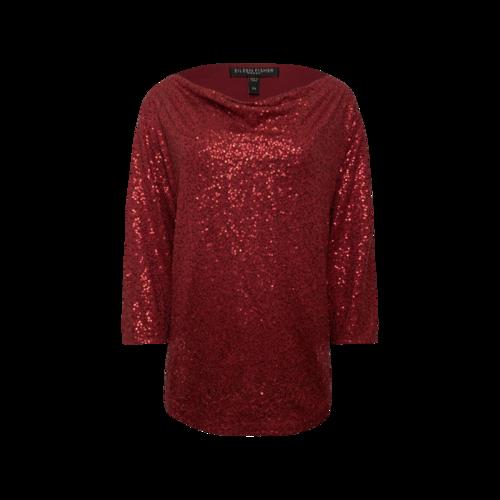 Eileen Fisher Red Cowl Neck Sequin Top