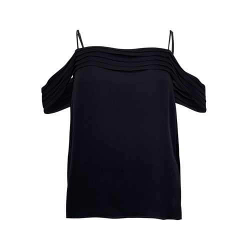 Alexander Wang Black Cold Shoulder Silk Georgette Top