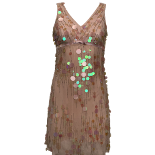 Sue Wong Pink Paillettes and Beads Dress