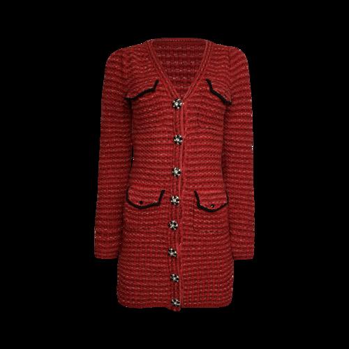 Self-Portrait Red Melange Knit Dress