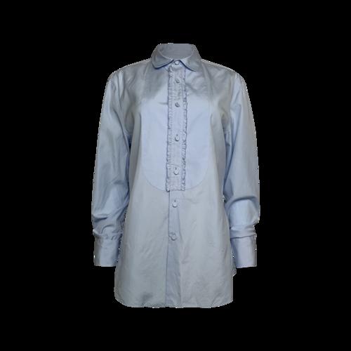 Prada Blue Ruffle Trimmed Button-Up Shirt