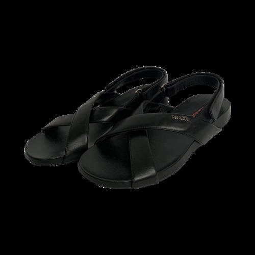 Prada Black Criss-Cross Logo Sandals