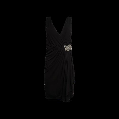 Badgley Mischka Black Draped Dress w/ Jeweled Waist