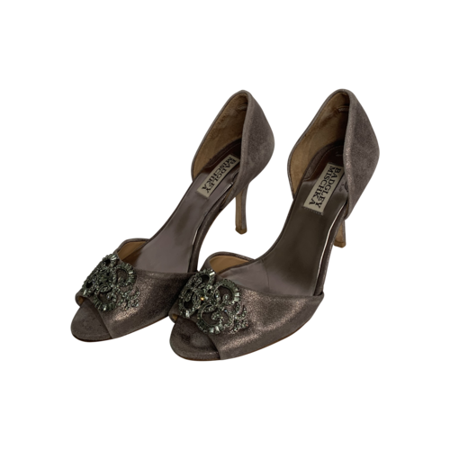Badgley Mischka Brushed Silver D'Orsay Heels