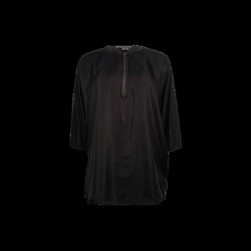 Vince Black Half-Zip Silk Top