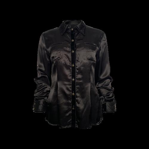 Moschino Black Velvet Trim Long Sleeve Button-Up Top