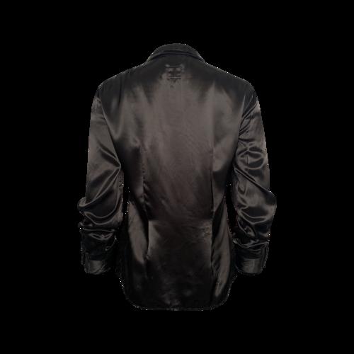 Black Velvet Trim Long Sleeve Button-Up Top