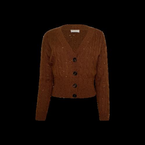Brunello Cucinelli Golden Brown Cropped Sequin Cardigan