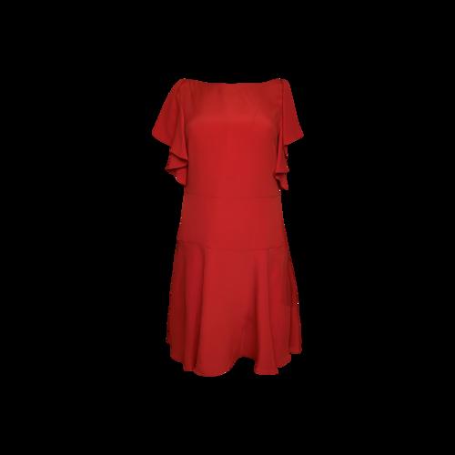 Valentino Red Crepe Flutter Sleeve Dress