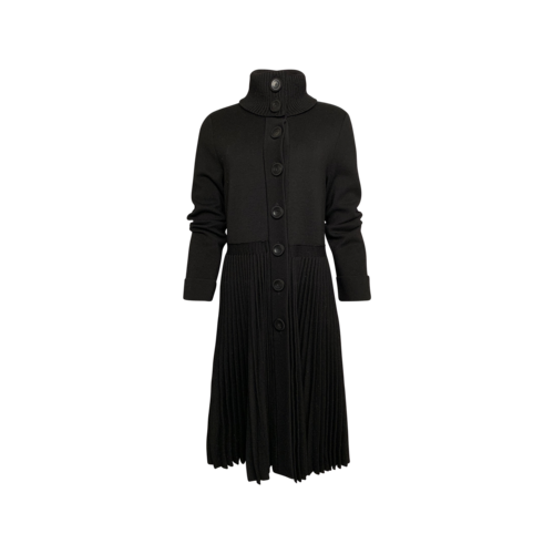 Valentino Black Pleated Button-Front Sweater Dress
