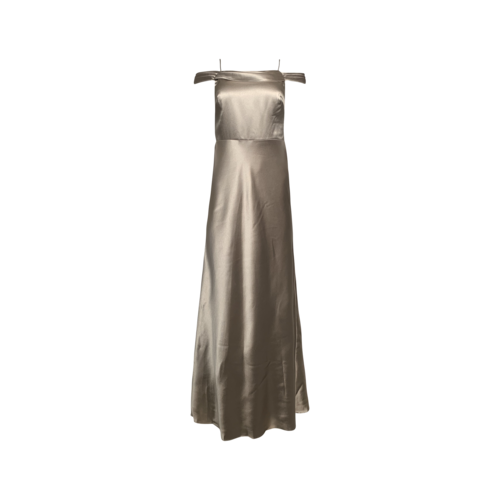 """Jenny Yoo """"Serena"""" Satin Off-the-Shoulder Gown in Latte"""