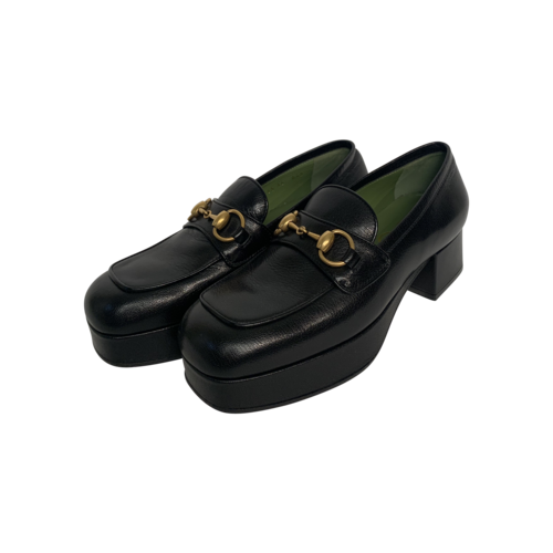 Gucci Black Horsebit Platform Loafers