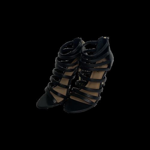 Renvy Black Leather Caged Heels