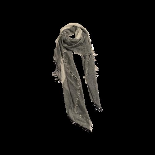 OAK Grey Silk Striped Scarf