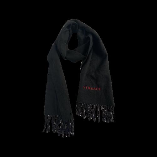 Versace Black Logo Wool Scarf
