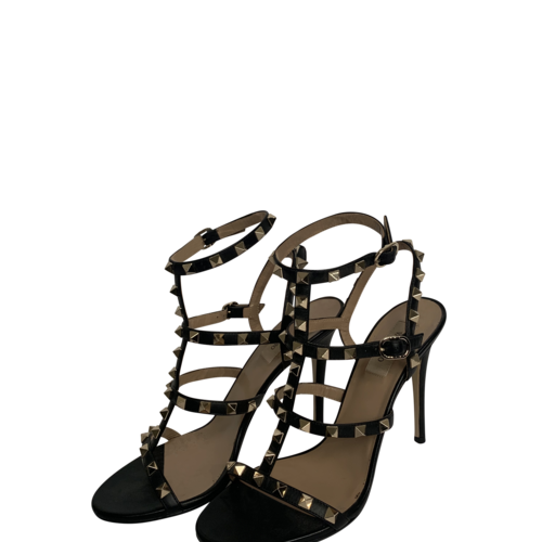 Valentino Black Rockstud T-Strap Leather Sandals