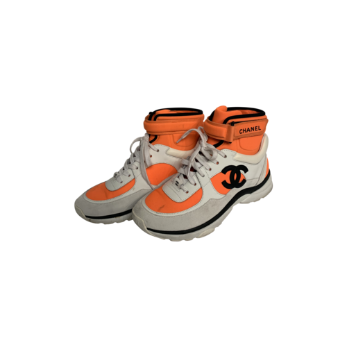 CHANEL Neon Orange High-Top Logo Sneakers