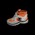 Neon Orange High-Top Logo Sneakers