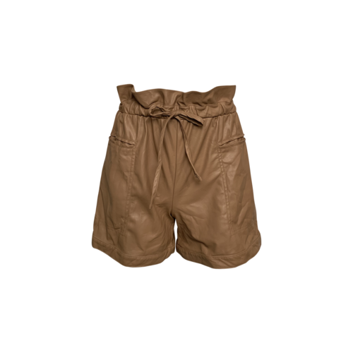 Kendall + Kylie Tan Faux Leather Paper-Bag Waist Shorts