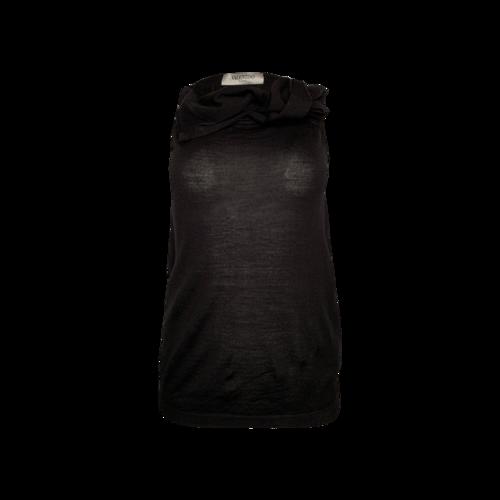 Valentino Black Wool Sleeveless Sweater Top