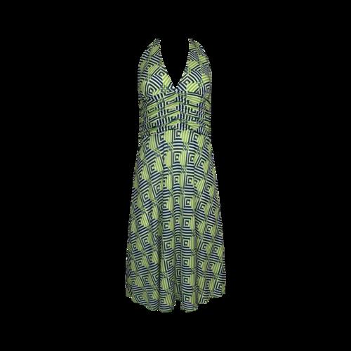 Trina Turk Green Geometric Halter Dress