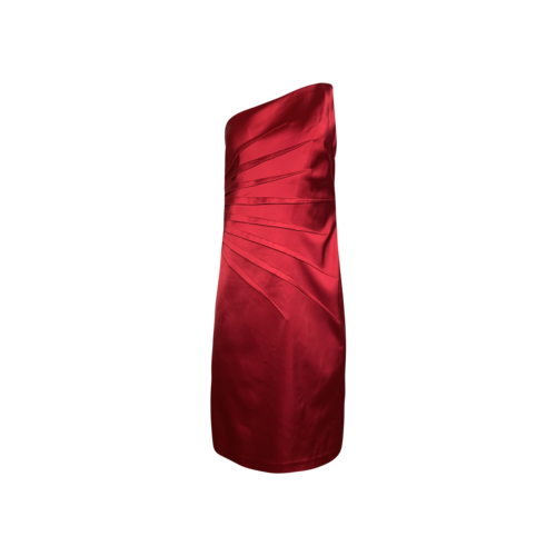 David Meister Red One-Shoulder Pleated Dress