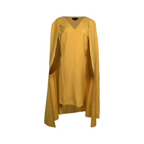 Eloquii Yellow Sharp Shouldered Cape Dress