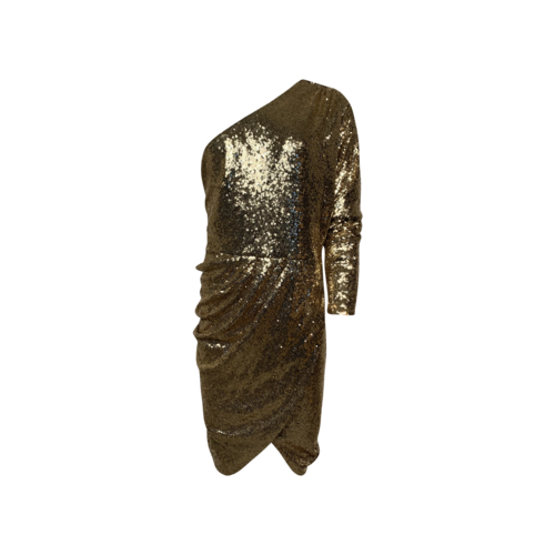 Eloquii Gold Sequin One-Shoulder Sequin Dress