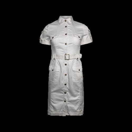 Calvin Klein White Short Sleeve Belted Shirt Dress