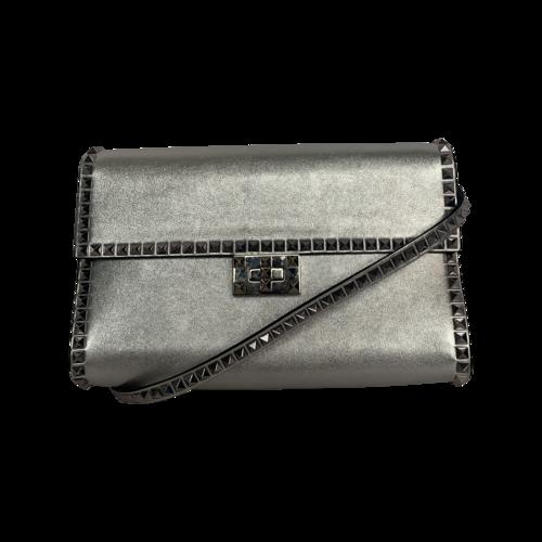 Valentino Silver Rockstud Metallic Leather Shoulder Bag