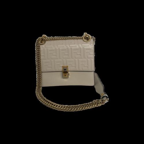 """Fendi Cream """"Kan I"""" Logo Embossed Bag"""