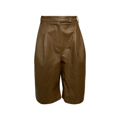 The Frankie Shop Brown Pernille Pleated Faux Leather Shorts