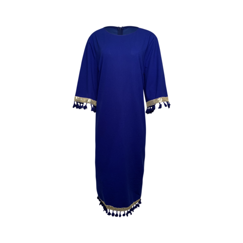 Vintage Blue Sequin and Tassel Trim Pencil Dress