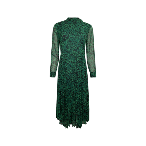 """Whistles Green """"Jungle Cat"""" Pleated Dress"""