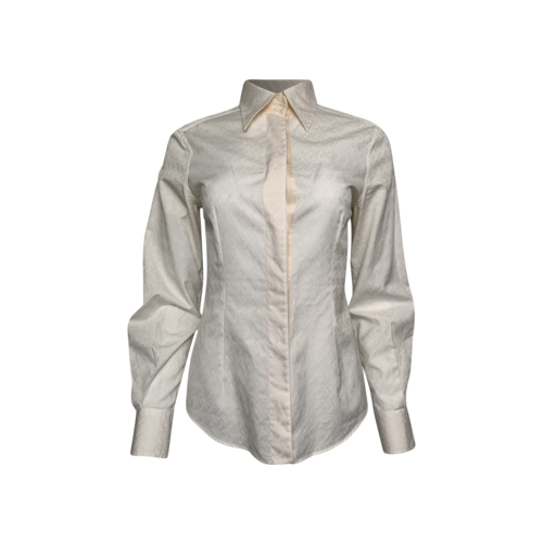 Dolce & Gabbana Cream Chevron Pattern Long Sleeve Blouse