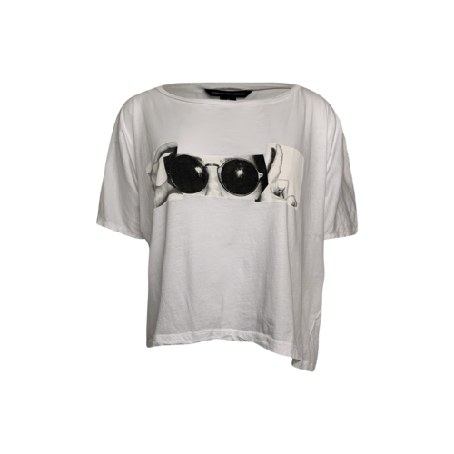 """French Connection White """"Cool"""" Cropped Graphic Tee"""