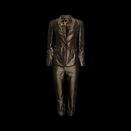Dolce & Gabbana Gold Silk 2-Piece Suit Set