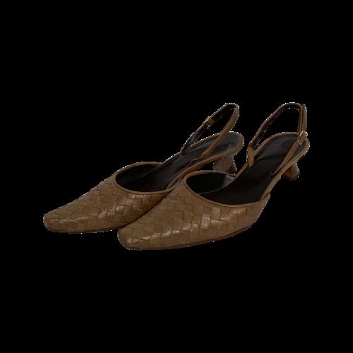 "Bottega Veneta Brown ""Intrecciato"" Woven Leather Slingback Heels"