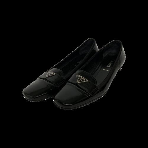Prada Black Patent Leather Logo Loafers