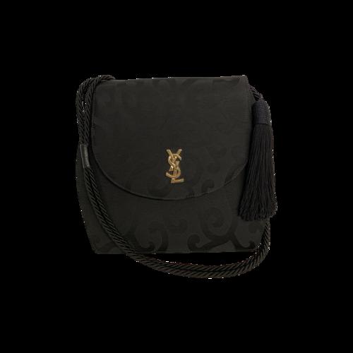 """Yves Saint Laurent Black Vintage """"Arabesque"""" Canvas Logo Bag"""