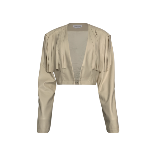 Lovers and Friends Beige Cropped Fringe Faux Leather Jacket