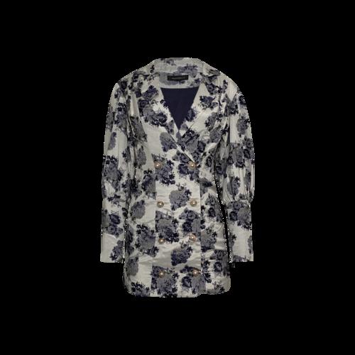 Majorelle Blue Floral Jacquard Jacket
